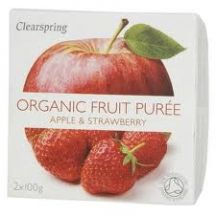 Clearspring  Organic Apple strawberry Puree  (2x100g)