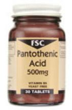 FSC  Pantothenic Acid 500mg (Vitamin B5)  (30 tabs)