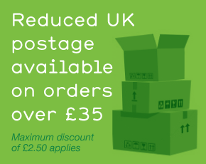 Reduced UK postage available on orders over £35, maximum discount of £2.50 applies